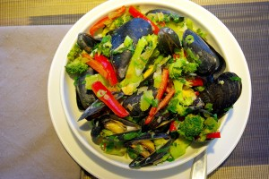 Mussels and vegetables