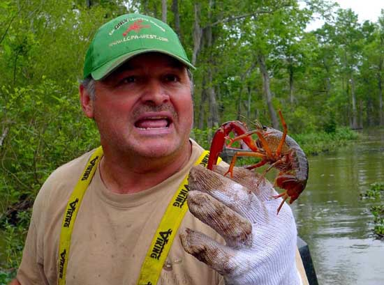 Jody Meche with crawfish