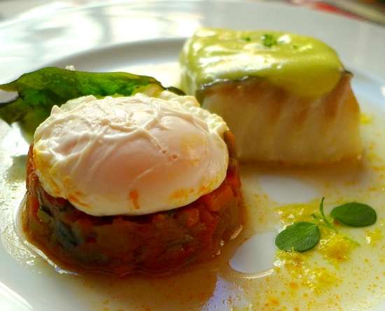 pisto manchego with cod a pil pil
