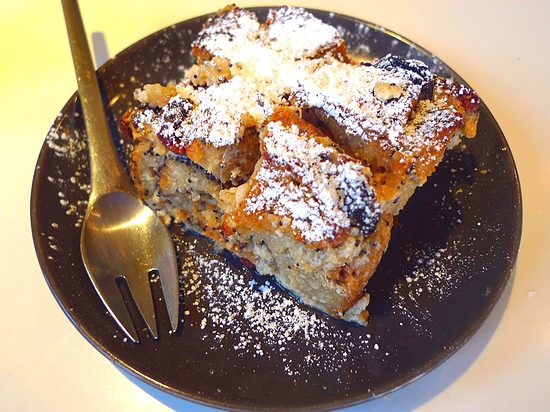 lemon poopyseed bread pudding made with baguette from Paul