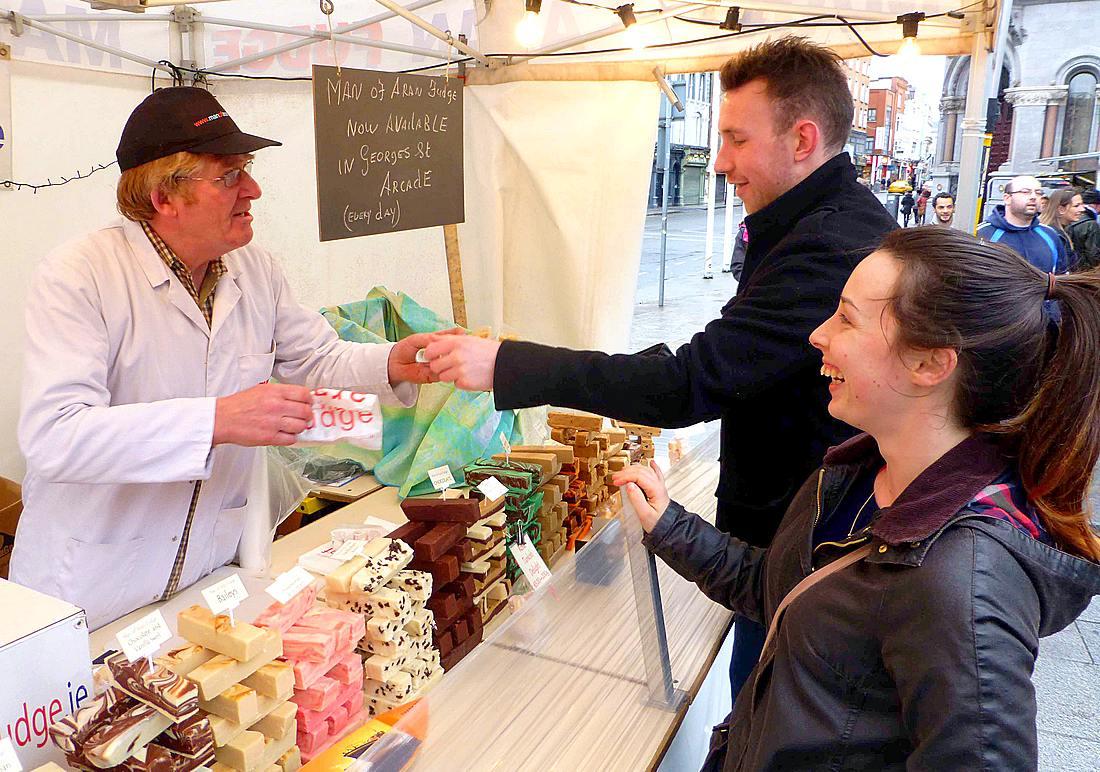 Tomás Póil sells fudge on streets of Dublin
