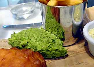 mushy peas with fish and chips