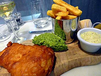 fish and chips at The Brasserie, Marker Hotel, Dublin
