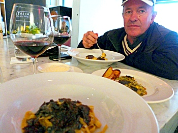 Simon eating tagliatelle with truffles at Cafe DiStasio in Melbourne