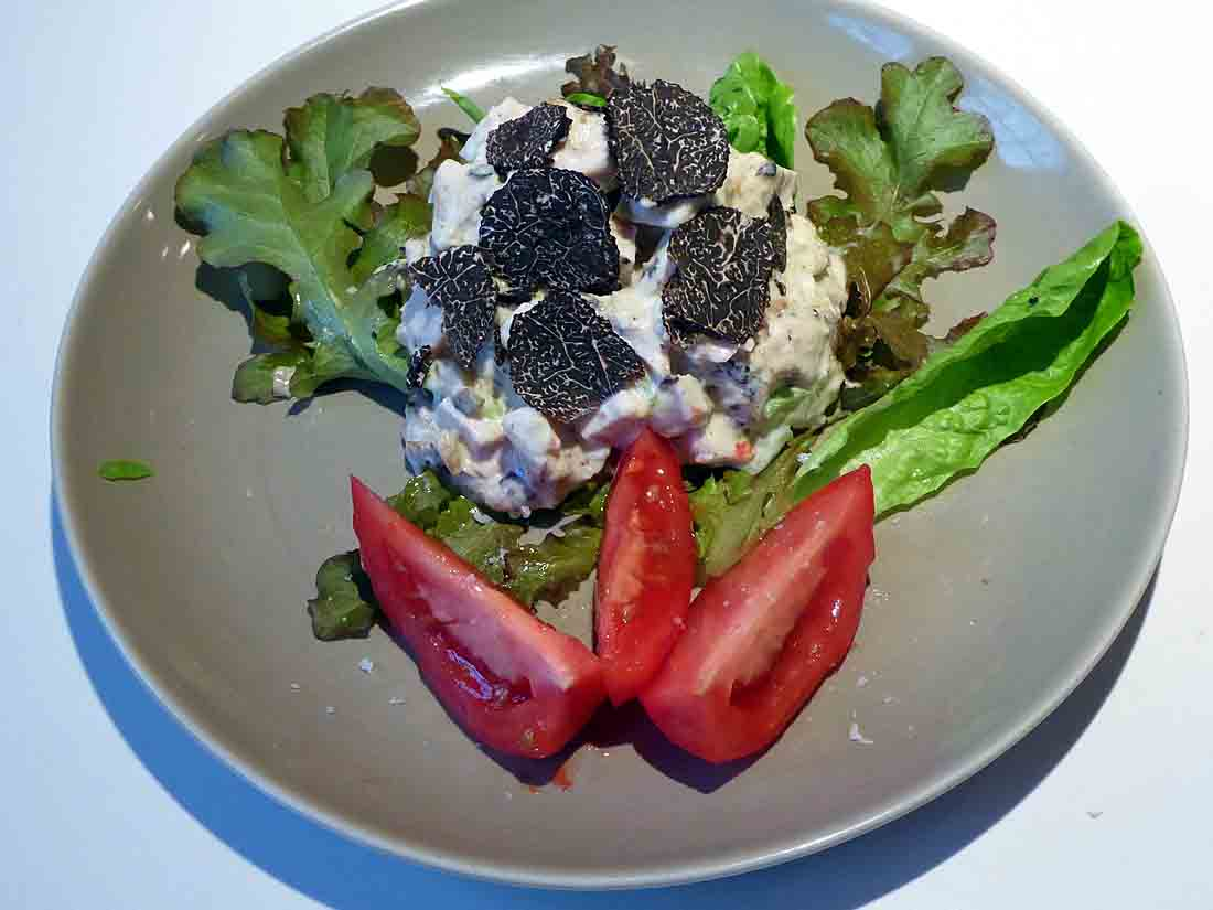 chicken salad with black truffle alioil