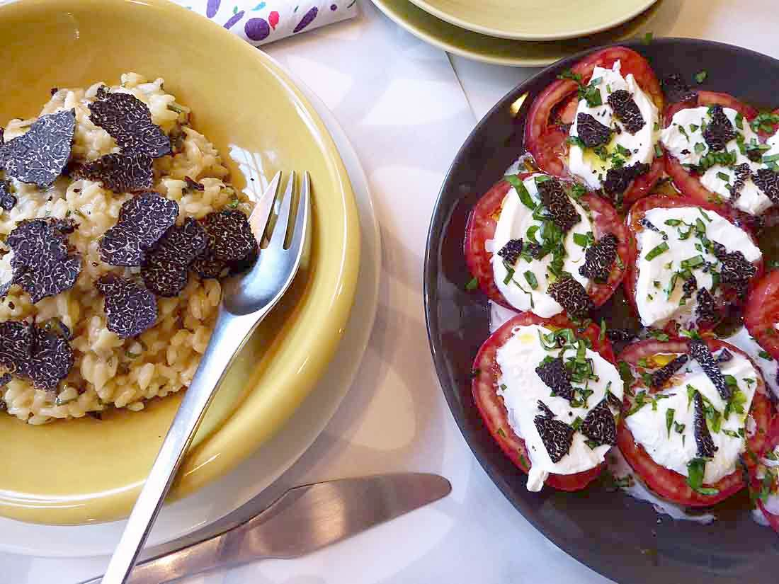lemon risotto and caprese salad with truffle