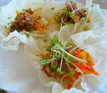 Smithtown Seafood fish tacos in crispy rice paper