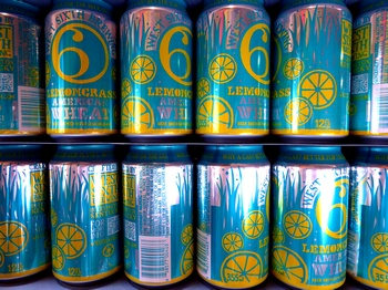 cans of Lemonsgrass American Wheat from West Sixth Brewing
