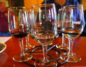 tasting glasses at First Vineyard