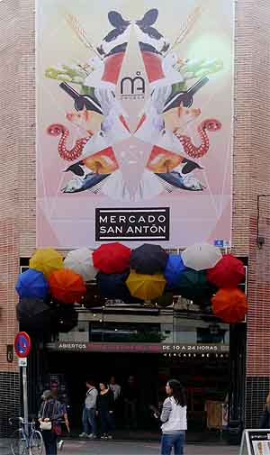entrance to Mercado San Anton market in Madrid