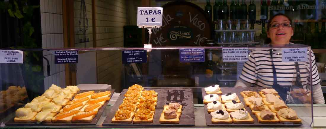 tapas at Mercado San Anton in Madrid