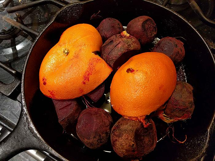beets roasting for beet poke
