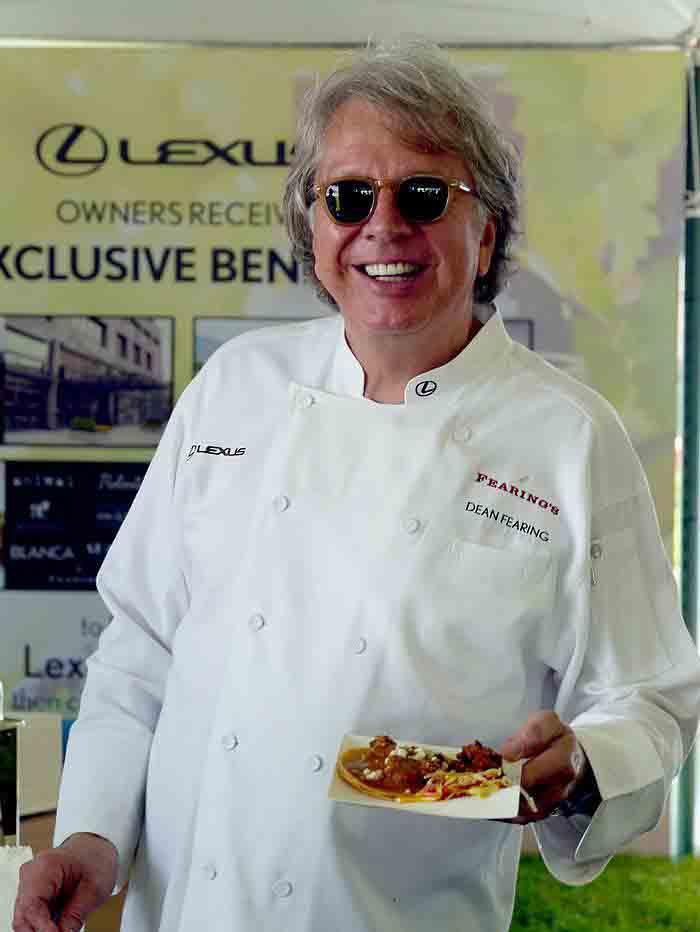 Dean Fearing at Lexus Gran Fondo finish line cookout