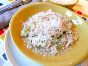 Crab risotto with walnut pistou and baby lima beans