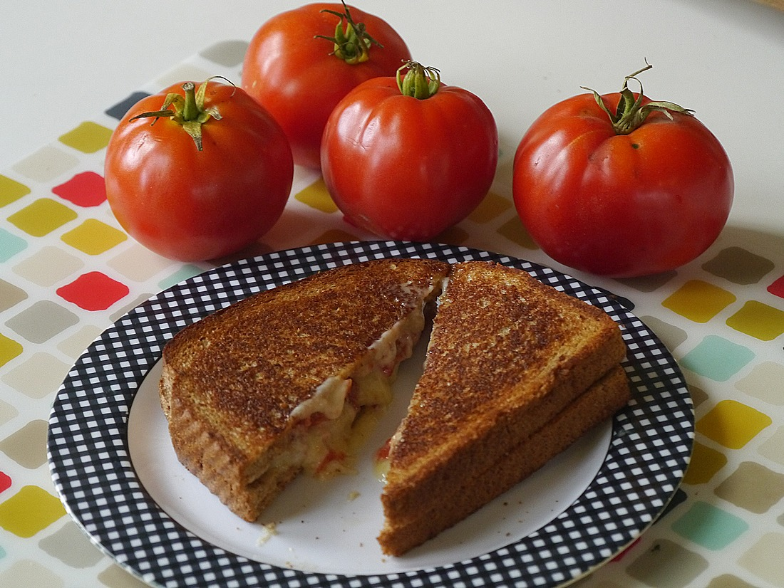 Grilled cheese, bacon, and tomato sandwich made with Crowley Cheese