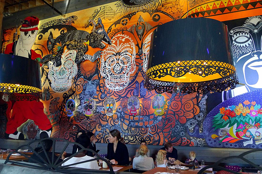 Mural in El Catrin in Toronto Distillery District