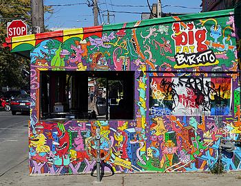burrito stand in Toronto Kensington Market