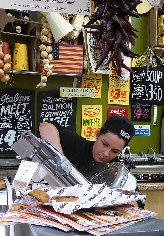 Slicing salami at Saws Belfast.