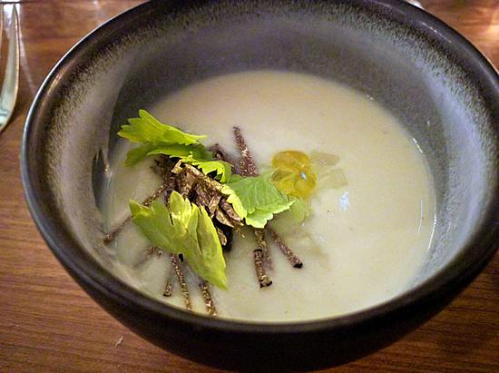 celeriac soup at OX in Belfast