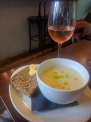 Bread and soup at Vin Cafe in Belfast