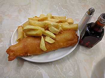 namesake meal at John Long's Fish & Chips in Belfast