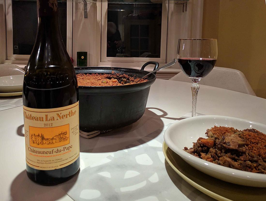 Turkey lentil cassoulet with 2012 Château La Nerthe from Châteauneuf-du-Pape