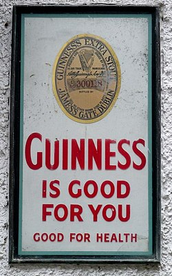 Historic Guinness sign in Belfast's Cathedral Quarter