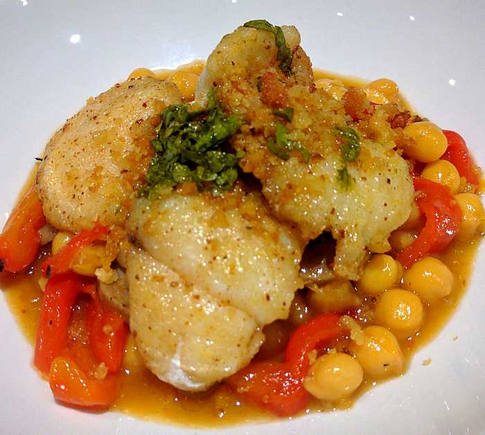 Monkfish with chickpeas at Hadskis