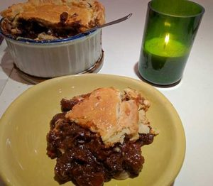Steak and Guinness pie served