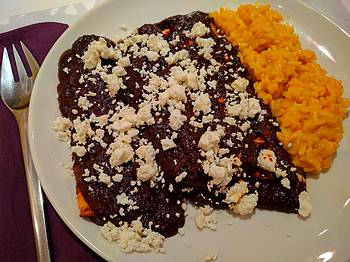 Oaxaca style mole negro with pumpkin risotto