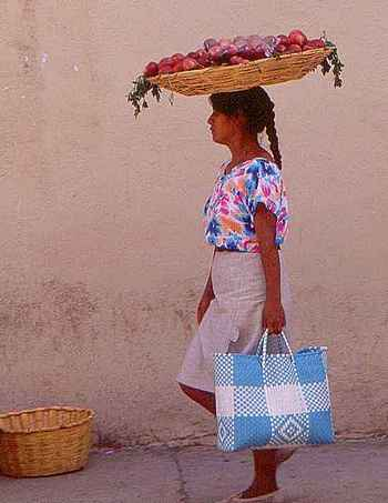 apple seller in Oaxaca