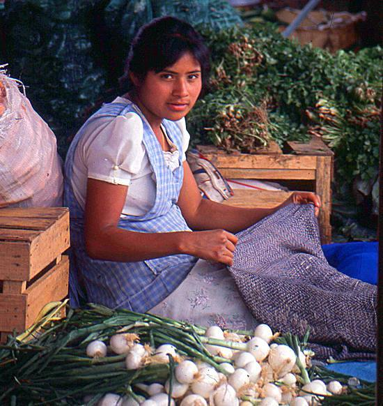 Onion seller at Oaxaca market
