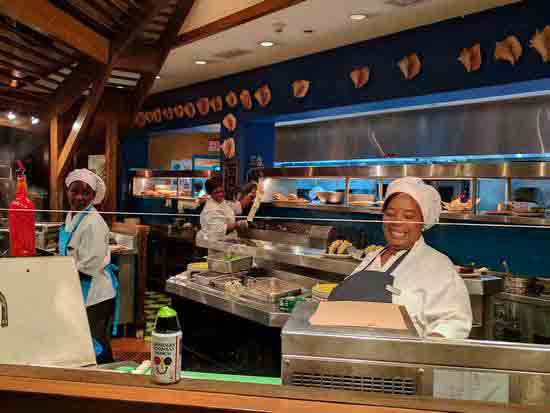 open kitchen at Bimini Road restaurant at Atlantis