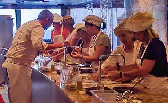 Cooking class aboard Oceania cruise