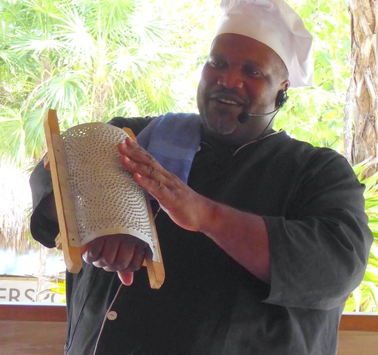 Chef Samuel with homemade grater on Oceania shore excursion