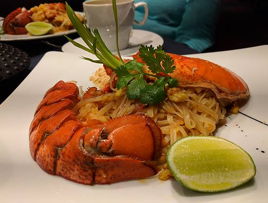 Lobster pad Thai at Red Ginger on Oceania Marina
