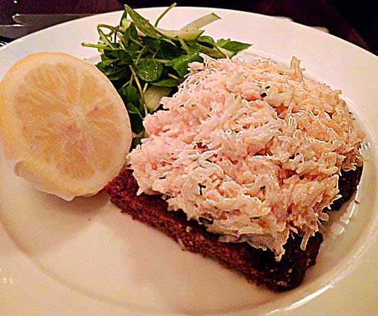 108 Brasserie Dorset crab on toast