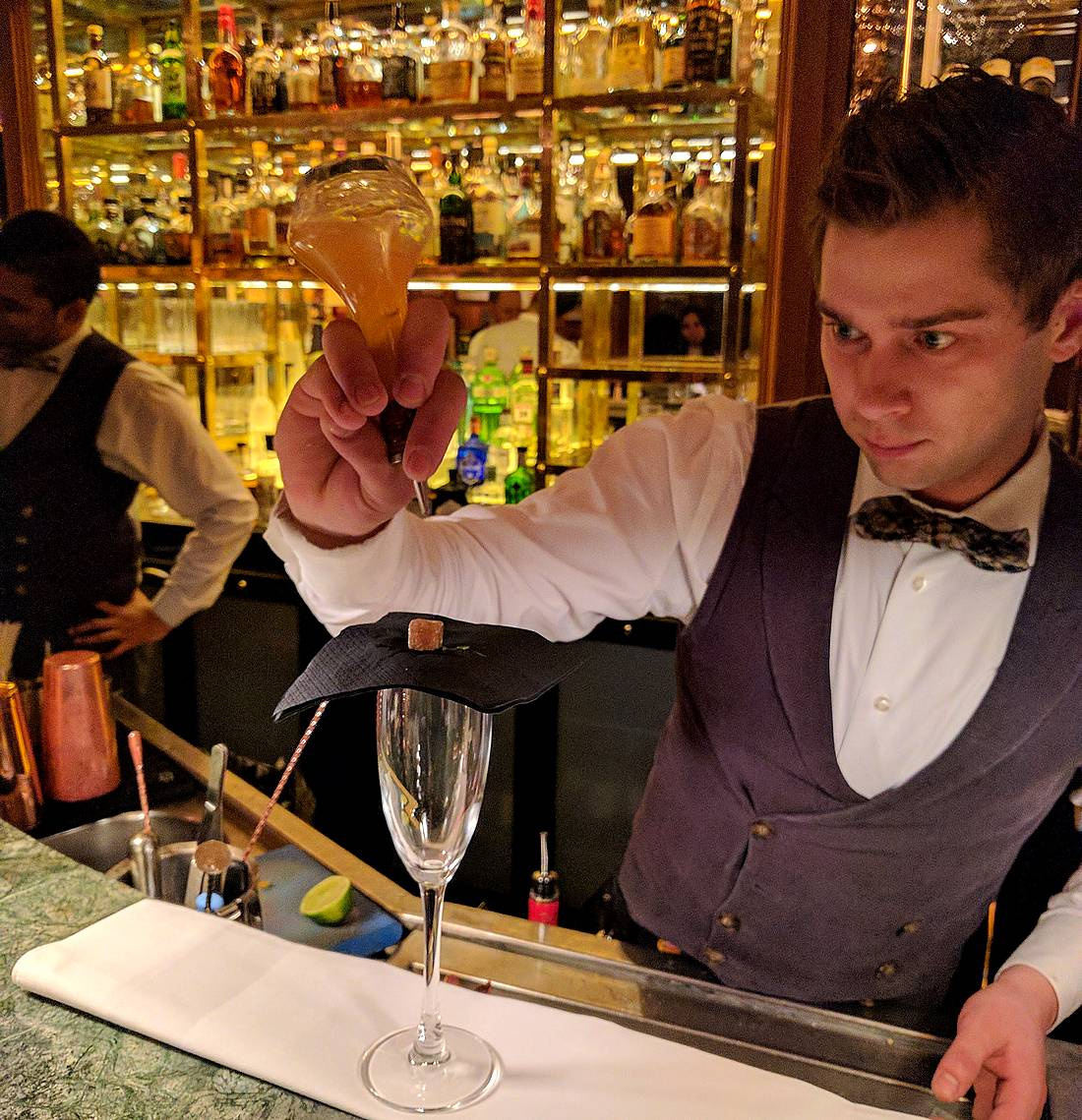 Mixologist Mantas Ignatavicius of the K Bra in The Kensington, a Doyle hotel in London
