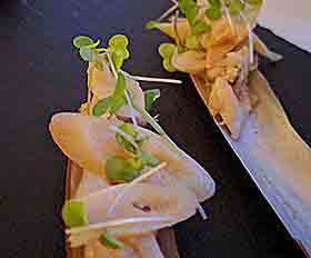 Razor clams as hors d'oeuvres from Natalie's