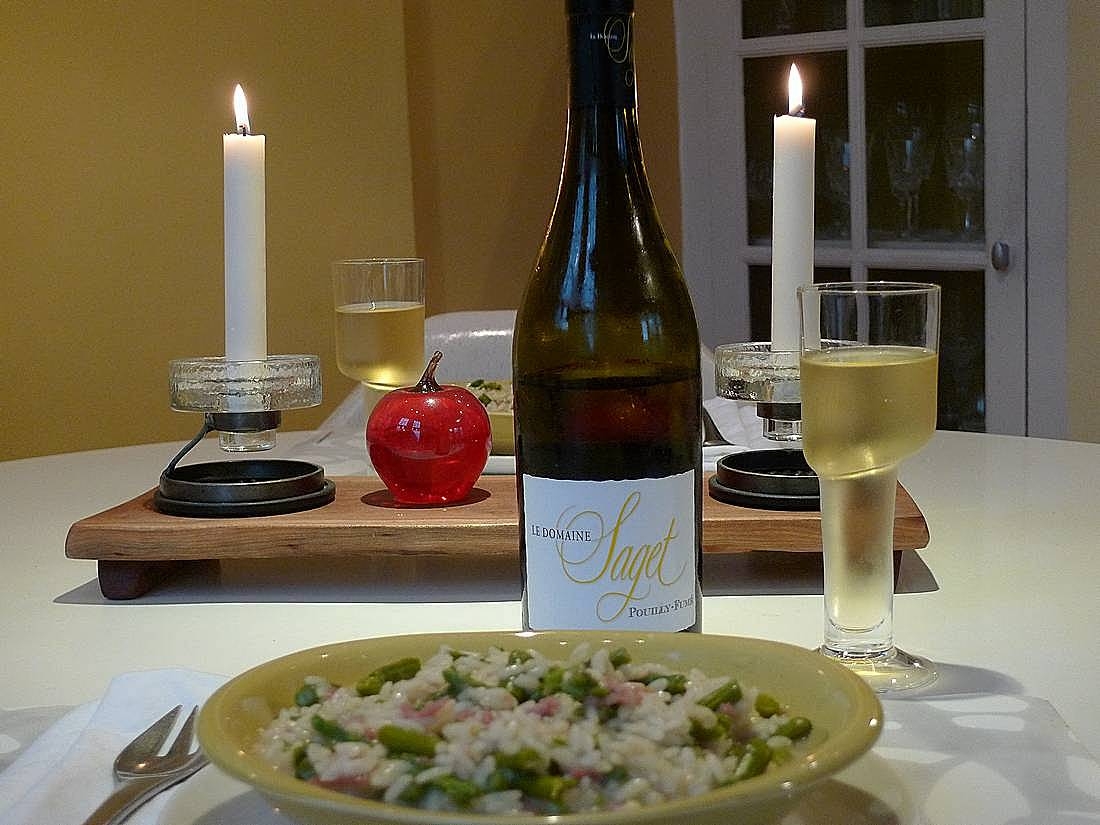 asparagus prosciutto risotto with Pouilly-Fumé