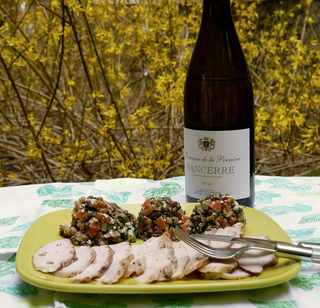 Sancerre with lentil salad and grilled chicken