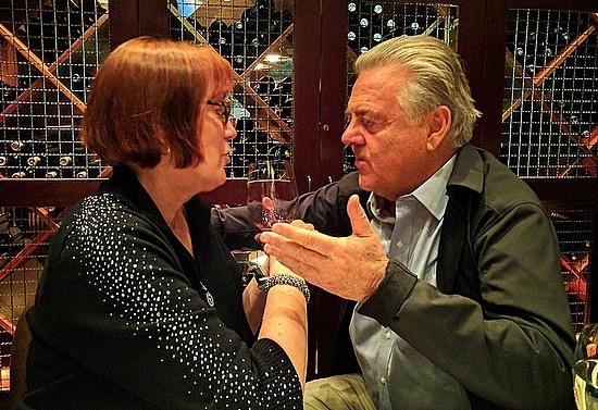 Patricia Harris and Lodovico Antinori discuss Tenuta di Biserno wines.
