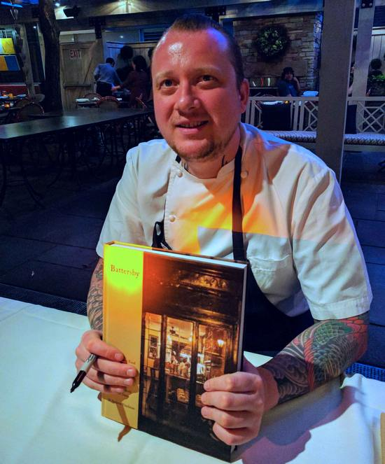 Walker Stern of Batersby signs cookbooks at Harvest