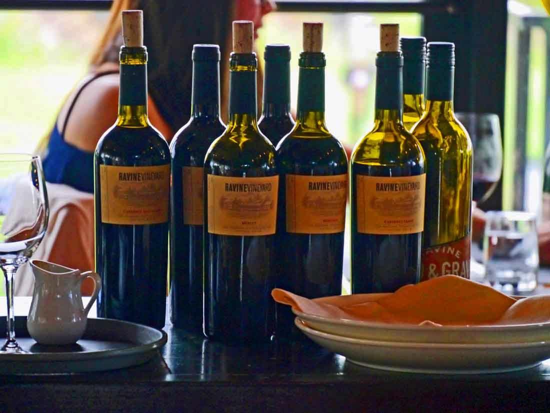bottles at Ravine Vineyard restaurant