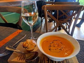 Carrot ginger soup at Ravine Vineyard Estate restaurant