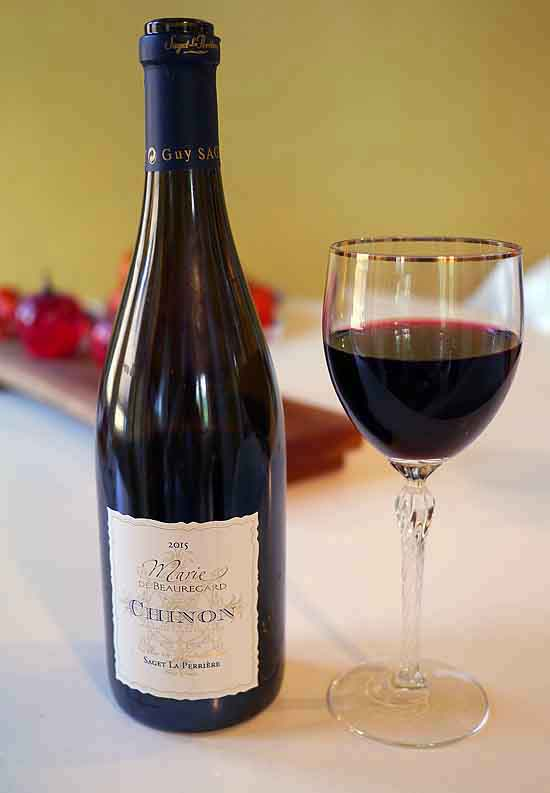 Chinon bottle and glass for HungryTravelers