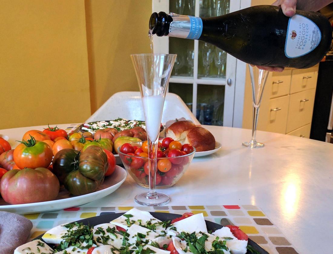 Prosecco with insalata caprese