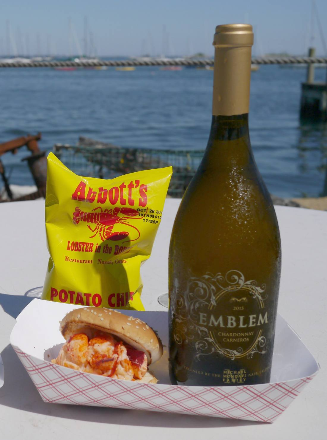 Emblem Chardonnay with lobster roll