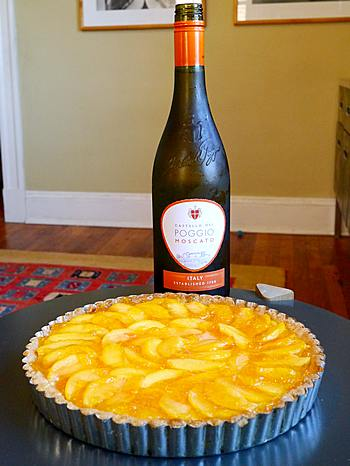 Moscato with peach tart
