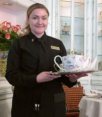 server at tea at Prince of Wales Hotel